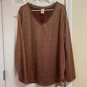 Shimmering Long Sleeve Top Brown with Gold